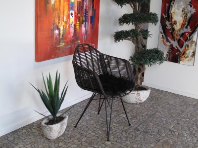 LIVING DESIGN CHAIR med armlæn - Metal/Rattan spisestol