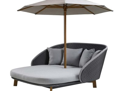 Cane-line - PEACOCK 5561 Daybed med bord / Inkl. hynder